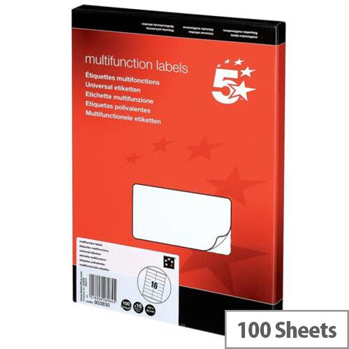 Multifunction 16 Per Sheet Labels 5 Star 105x35mm (1600 Labels)