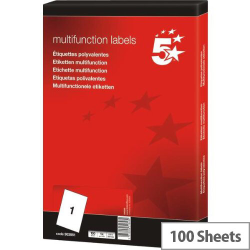 Multifunctional 1 Per Sheet Labels 297x210mm (100 Labels)
