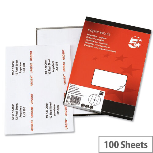 4 Labels per Sheet Copier 105x149mm 400 Labels 5 Star