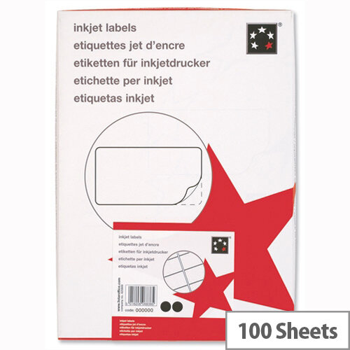 Office Address Labels Inkjet 16 per Sheet 99.1x34mm White 1600 Labels 5 Star