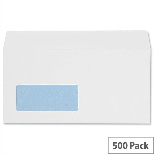 5 Star Office Envelopes Wallet Peel and Seal Window White DL 100gsm Pack of 500
