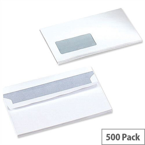 5 Star Office White DL Window Envelopes Self Seal Wallet 90gsm Pack 500