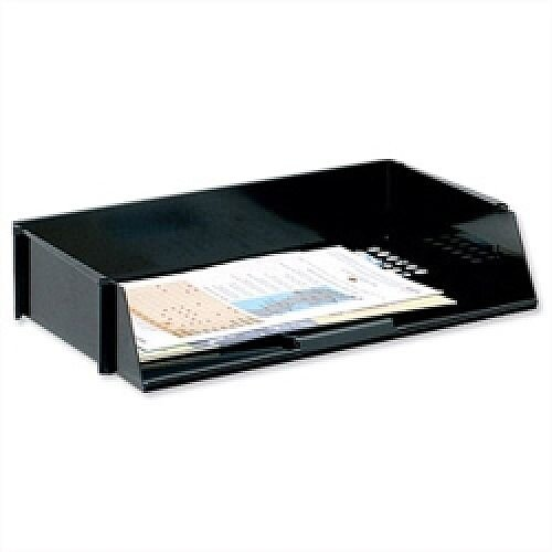 Wide Entry Letter Tray Black Stackable 5 Star