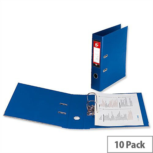 5 Star Office Lever Arch File Polypropylene Capacity 70mm A4 Royal Blue Pack of 10