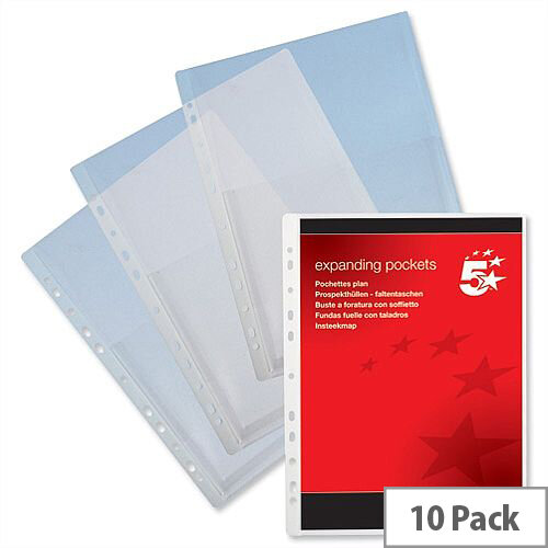 Expanding Punched Pockets PVC A4 Clear Pack 10 5 Star
