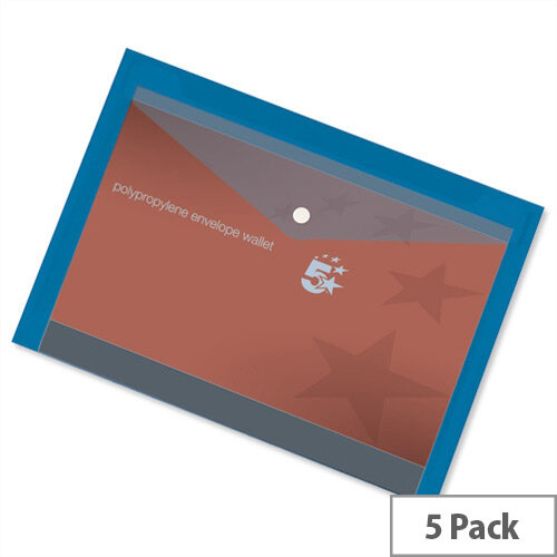 A4 Office Envelope Stud Wallet Plastic Transparent Blue Pack 5 5 Star