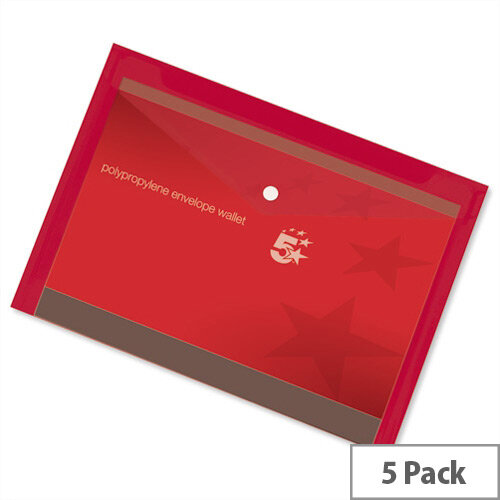 A4 Office Envelope Stud Wallet Plastic Transparent Red Pack 5 5 Star
