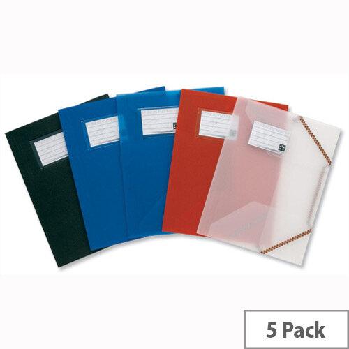 A4 Plastic Elasticated Folder Translucent Pack 5 5 Star