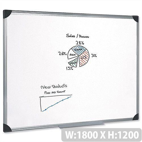 Magnetic Whiteboard Aluminium Trim 1800 x 1200mm 5 Star