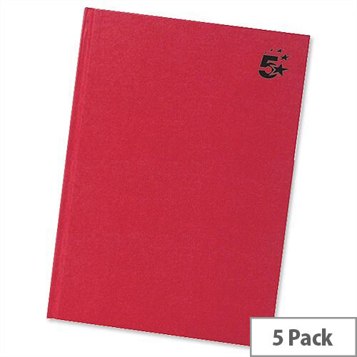 5 Star A5 Indexed Manuscript Book Casebound 192 Pages Pack 5