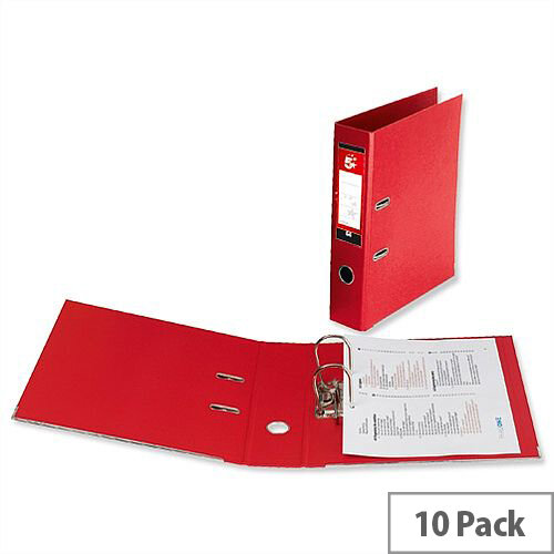 5 Star Office Lever Arch File Polypropylene Capacity 70mm Foolscap Red Pack of 10