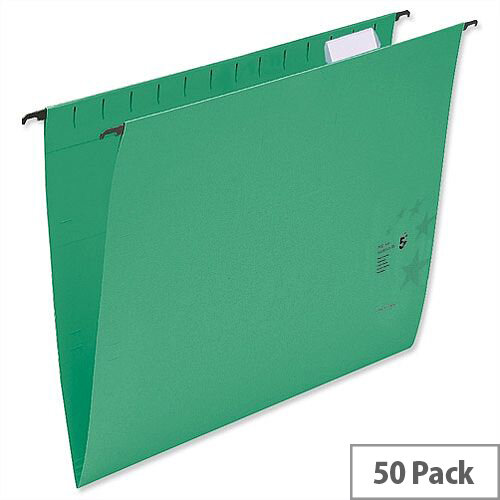 Suspension Files with Wrapover Bar Tabs and Inserts Green Foolscap Pack 50 5 Star