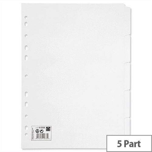 5 Part Subject Dividers A4 White 5 Star