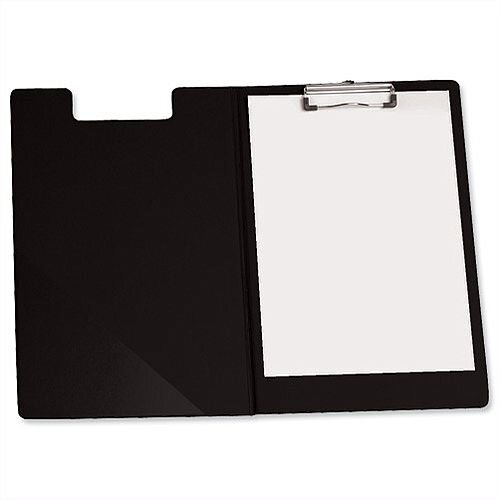 Foolscap Fold Over Clipboard Black with Front Pocket 5 Star