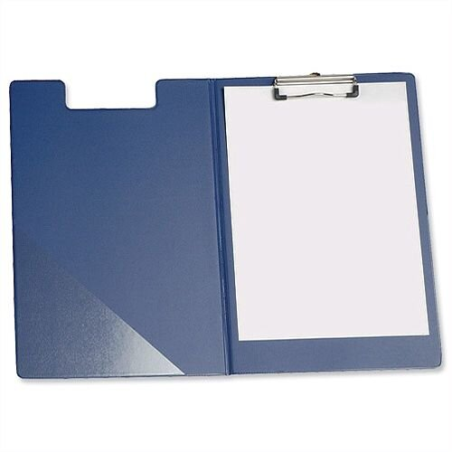 Foolscap Fold Over Clipboard Blue with Front Pocket 5 Star