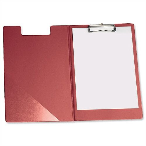 Foolscap Fold Over Clipboard Red with Front Pocket 5 Star