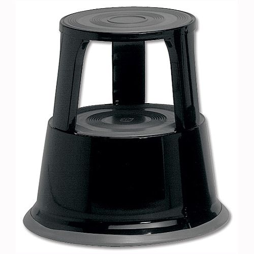 5 Star Step Stool Mobile Spring-loaded Castors Max 150kg Black