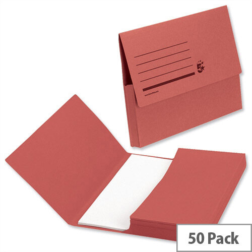 5 Star Office Document Wallet Half Flap 285gsm Capacity 32mm A4 Red Pack of 50