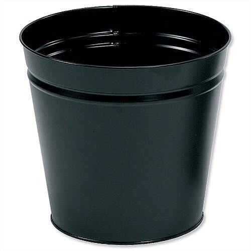 5 Star Office Waste Desk Bin Round Steel Scratch Resistant D300xH280mm 15 Litres Black