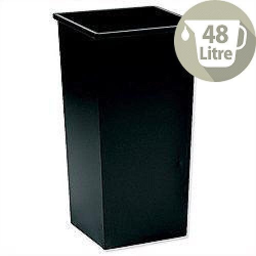 5 Star Office Waste Bin Square Steel Scratch-resistant W325xD325xH630mm 48 Litres Black