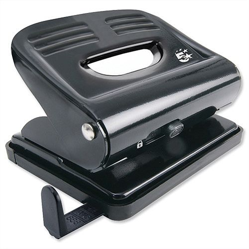 Black 2 Hole Punch Plastic Base Metal Handle 18 Sheets 5 Star