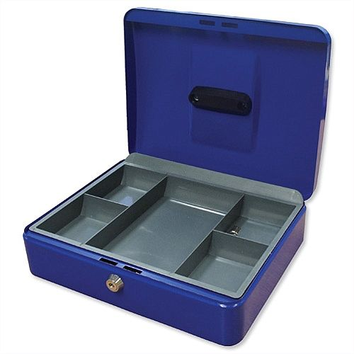 5 Star Key Lock Cash Box Compact 8 Inch 200x160x70mm Blue 5 Coin Compartments