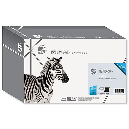 Compatible HP 53X Black Toner Cartridge Q7553X 5 Star