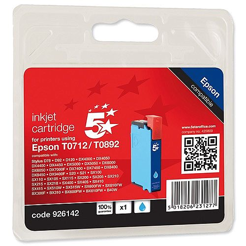 Epson T0712 Compatible Cyan Inkjet Cartridge Cheetah Series 5 Star C13T07124011