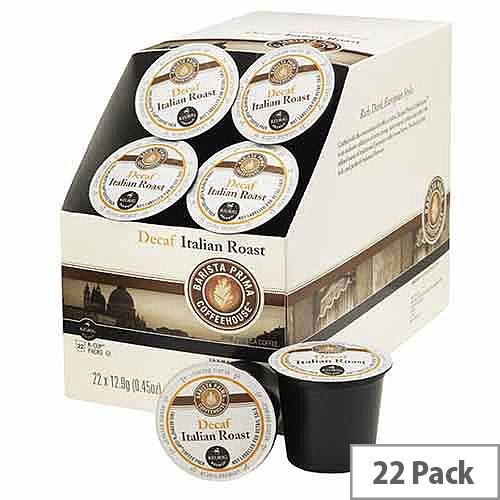 Barista Prima Coffeehouse Italian Roast Decaf Pack 22 K-Cup Pods for Keurig