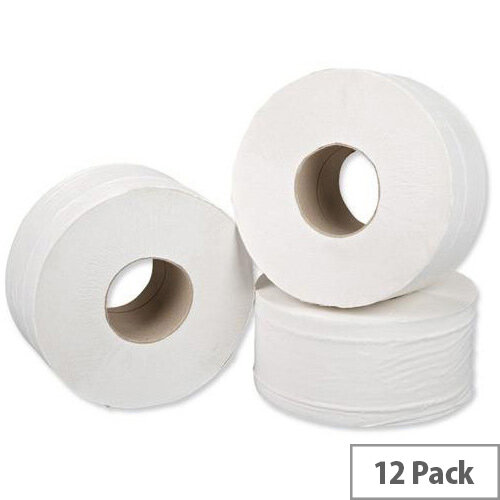 5 Star Jumbo 76mm Core Dispenser Toilet Paper Rolls Refills 2-ply Sheet 380mmx90mm Roll 200m Pack 12