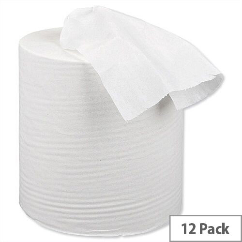 5 Star Centrefeed Paper Tissue Refill for Dispenser White One-ply 120m [Pack 12]