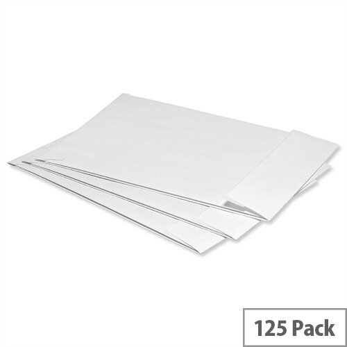5 Star Office Envelopes Gusset 25mm Peel and Seal 120gsm White C4 Pack of 125
