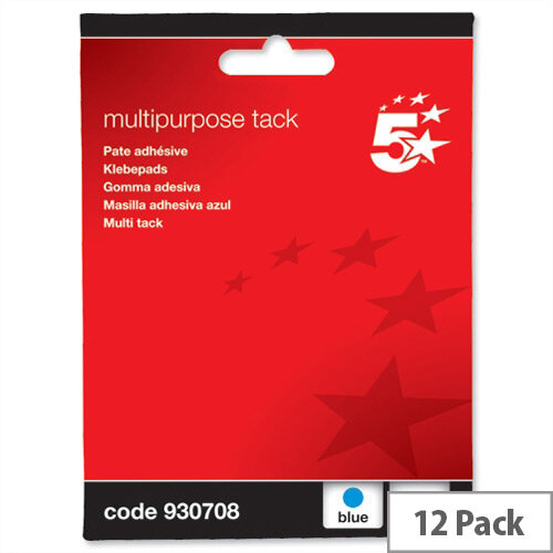 Multipurpose Adhesive Blue Tack Reusable 70g Pack 12 5 Star
