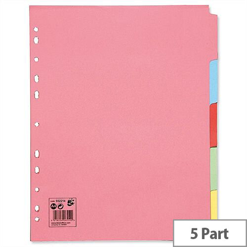 5 Part Extra Wide Subject Dividers Assorted A4 Pack 10 5 Star