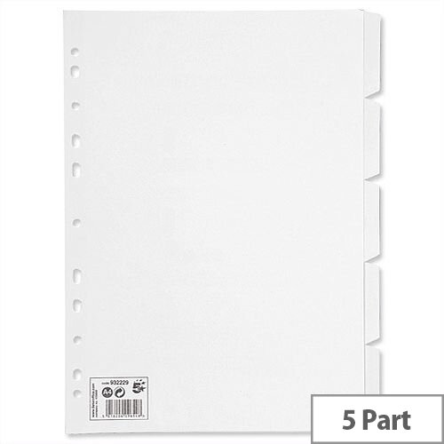 5 Part Subject Dividers White A4 Pack 10 5 Star