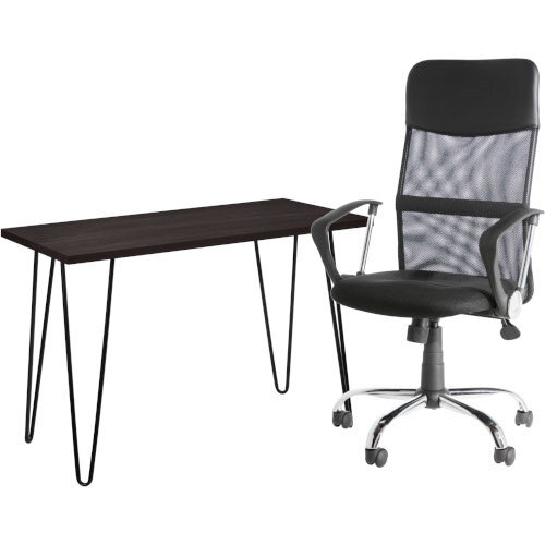 Owen Retro Home Office Desk - Espresso &Alphason Office Chair Orlando Black Mesh