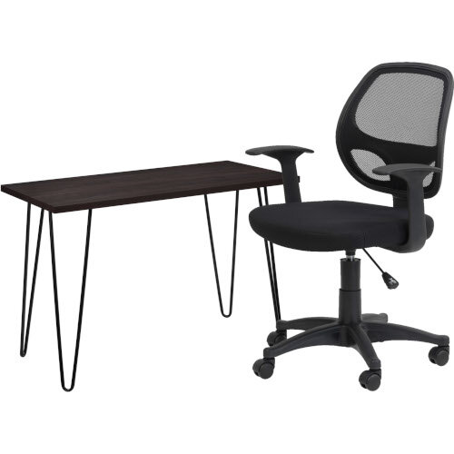 Owen Retro Home Office Desk - Espresso &Alphason Office Chair Davis Black Mesh
