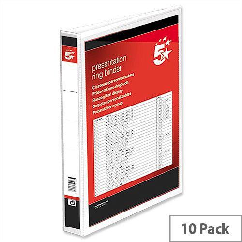 A4 Presentation Ring Binder 4 Ring White PVC 25mm Pack 10 5 Star