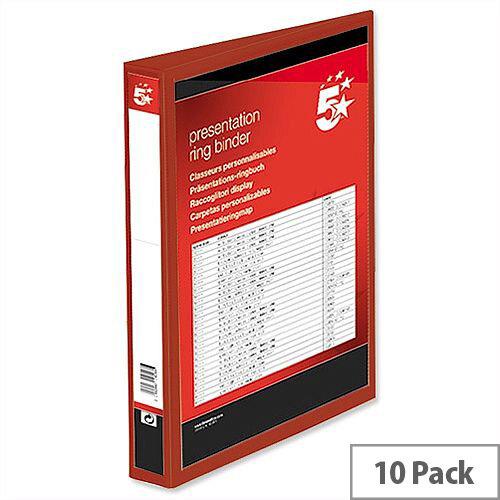 Red 4 Ring Presentation Binder PVC 25mm A4 5 Star Pack 10