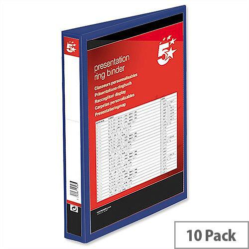 Blue 38mm Presentation Ring Binder PVC 4 Ring A4 5 Star Pack 10