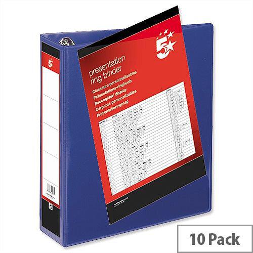 Blue 4 Ring Presentation Binder PVC A4 65mm Pack 10 5 Star