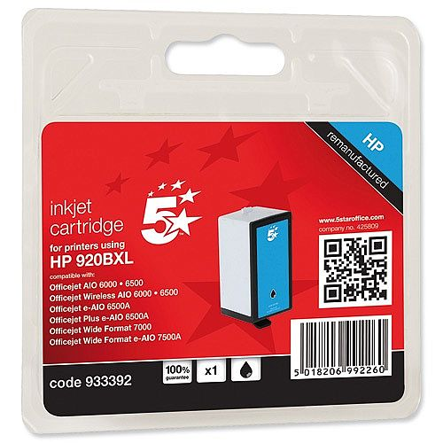 HP Compatible 920XL Black Inkjet Cartridge CD975AE 5 Star