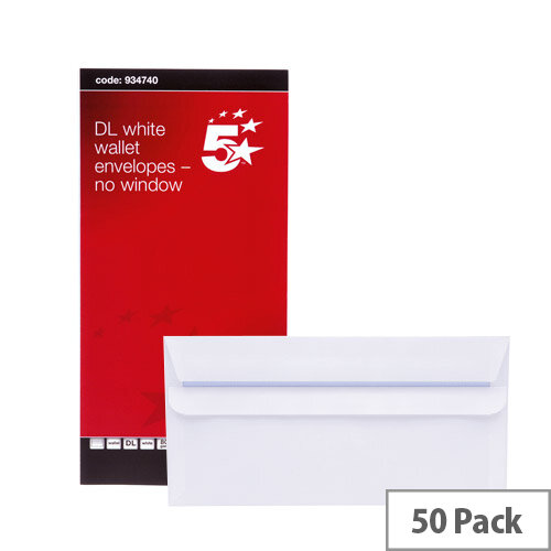 5 Star Office White DL Envelopes Self Seal Wallet 80gsm Pack of 50