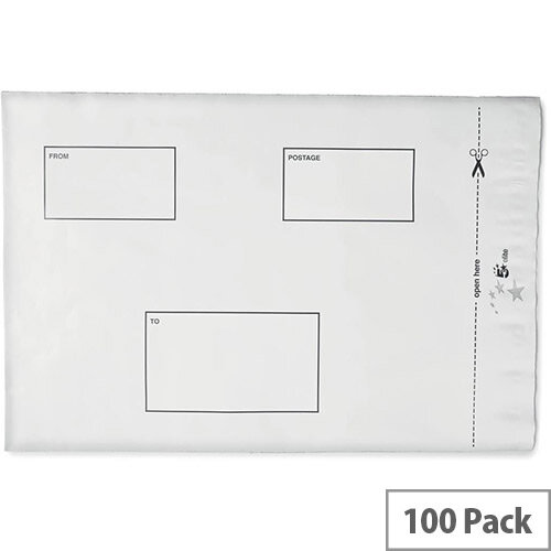 5 Star Elite Protective Envelopes Polythene Opaque 250x320mm &50mm Flap Peel &Seal Pack 100