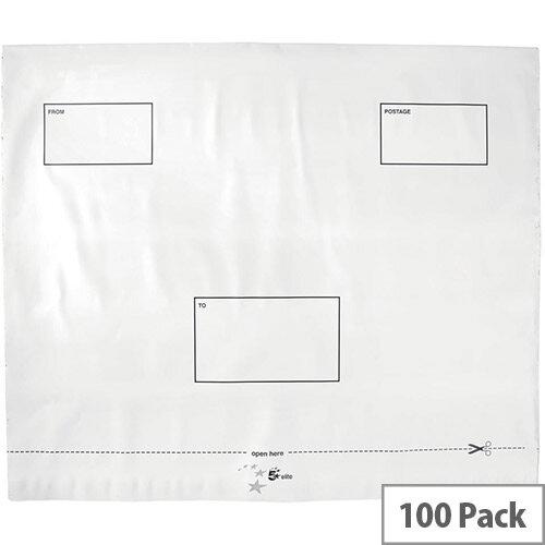5 Star Elite Envelopes Polythene Opaque 440x330mm Peel &Seal Pack 100 White