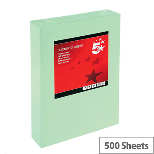 5 Star Medium Green A4 Paper Multifunctional Ream-Wrapped 80gsm 500 Sheets