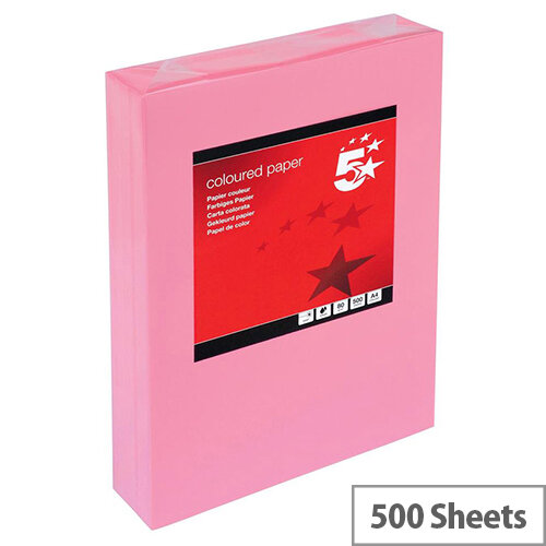 5 Star A4 Medium Pink Paper Multifunctional Ream-Wrapped 80gsm 500 Sheets