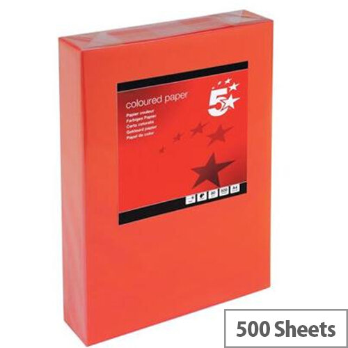 5 Star Deep Red A4 Paper Multifunctional Ream-Wrapped 80gsm 500 Sheets