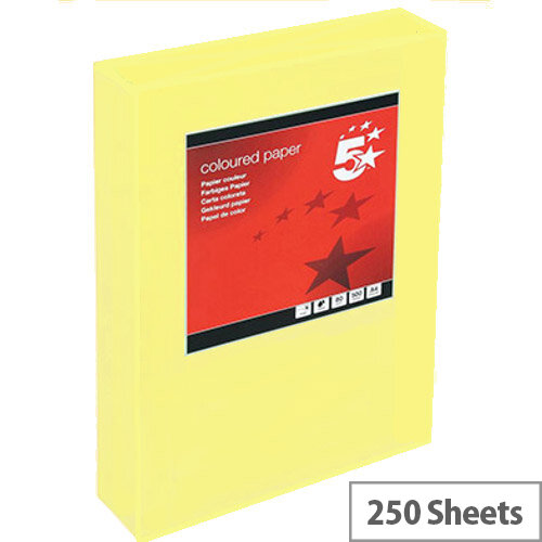 5 Star Light Yellow A4 Card Paper Multifunctional 160gsm Pack of 250 Sheets