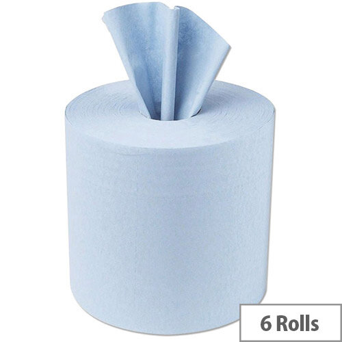 5 Star Facilities Centre Feed Tissues Refill Paper Rolls for Jumbo Dispenser 1-ply L300m x W200mm Blue Pack of 6